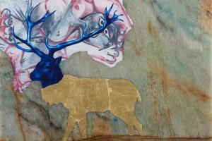 «Cerf et morceau de Picasso», 2014, huile et feuille d'or sur marbre de Portofino, 29 x 42 cm