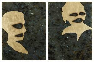 «Diptyque homme femme», 2014, huile et feuille d'or sur labradorite, 40 x 30 cm