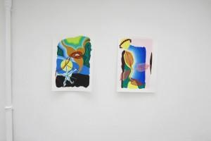« Equilibre noisette », 2012 gouache sur papier, 105 x 75 cm – « Forme silhouette, arc-en-ciel, et feuilles (Roi Soleil) », 2012 gouache sur papier, 105 x 75 cm