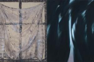 Sans titre (étude pour « Nocturne »), tempera à l'œuf, gesso, acrylique et fusain sur lin – diptyque, 72 x 63 cm chaque