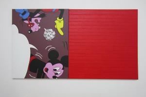 Bernard Rancillac – « Mickey tête en bas », 2012, acrylique sur toile, 100 x 81 cm / Bernard Aubertin – « Tombouctou », 2014, acrylique sur toile, 100 x 100 cm