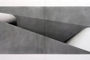 Sans titre, 2016, poudre de graphite sur papier BFK Rives – dyptique, 63 x 168 cm chaque