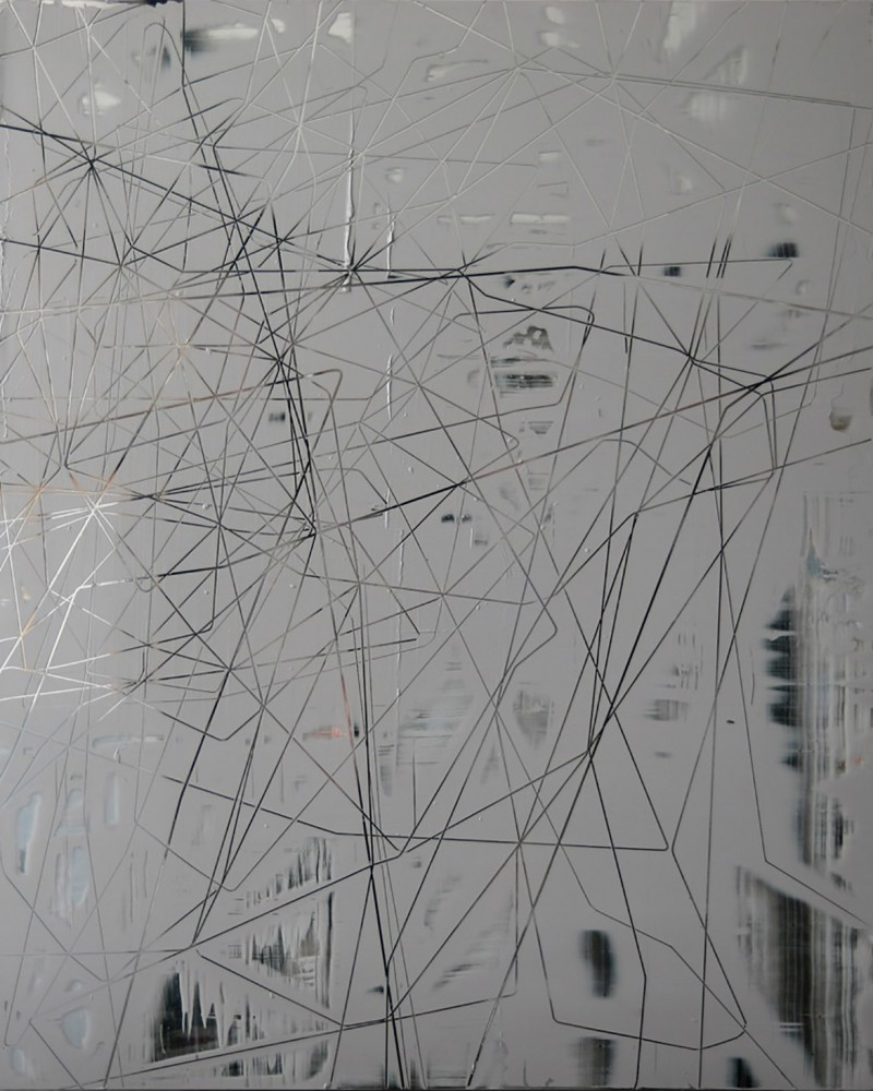 Scratch #0510, 2010, acrylique sur PMMA miroir, 96 x 120 x 5 cm