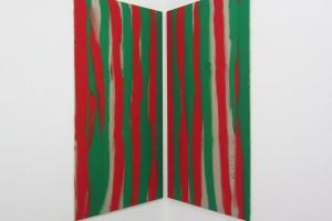 en regardant le coin à droite de la main gauche et droite simultanément, 1991, acrylique sur toile, 180 x90 cmen regardant le coin à droite de la main gauche et droite simultanément, 1991, acrylique sur toile, 180 x 90 cm