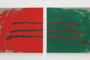 En regardant au milieu, panneau gauche peint main gauche, panneau droit peint main droite, 2012, peinture vinylique – diptyque 100 x 100 cm