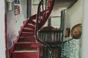 Escalier rouge (étude), 2016, aquarelle sur papier, 41 x 24 cm