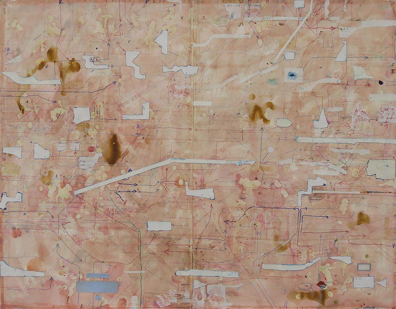 Score of Rose, 2015-17, technique mixte sur papier, 89 x 113,5 cm