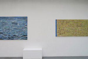 ADAM ADACH – A boat (Beneath a sunny sky), 2016-2017, huile sur toile, 120 x 150 cm / Front de mer, 2017, huile sur toile, 90 x 190 cm