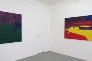 BENJAMIN SWAIM – Le gris de Corbelin (Pierre), 2017, huile sur toile, 130 x 97 cm / Deux garçons (Pierre), 2017, huile sur toile, 114 x 146 cm
