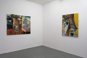 MATHIEU CHERKIT – Filtre, 2017, huile et pastel sur toile, 114 x 146 cm / De l'autre côté, 2017, huile sur toile, 116 x 89 cm