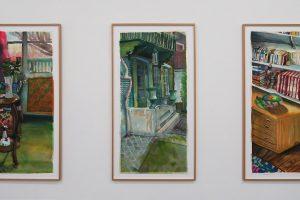 MATHIEU CHERKIT – Double humide #2, 2016, encre sur papier, 115 x 57 cm / Double humide #1, 2016, encre sur papier, 115 x 57 cm / Double humide #6, 2016, encre sur papier, 115 x 57 cm