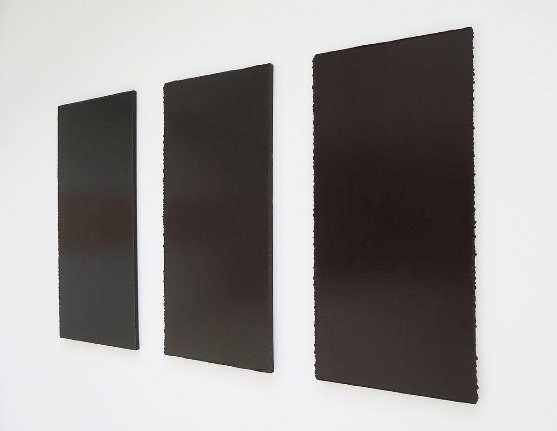 Monochrome marron #9 (61 couches, Schwarz + Zinnoberrot), Monochrome marron #3 (70 couches, Schwarz + Kadmiumrot Hell), Monochrome marron #1 (61 couches, Schwarz + Kadmiumrot Dunkel) – 2001, acrylique sur toile, 130 x 60 cm