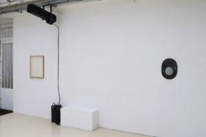 Jaromir Novotný > Untitled, 2017, acrylique sur organza synthétique, 57 x 47 cm / Takesada Matsutani > Ellipse-6-1, 2007, relief vinylique, crayon graphite, toile montée sur panneau de contreplaqué, 44,5 x 32,5 cm