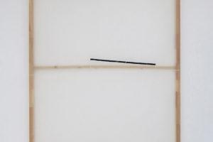 NOVOTNÝ > Untitled, 2018, acrylique sur organza synthétique, ruban transparent, 200 x 160 cm