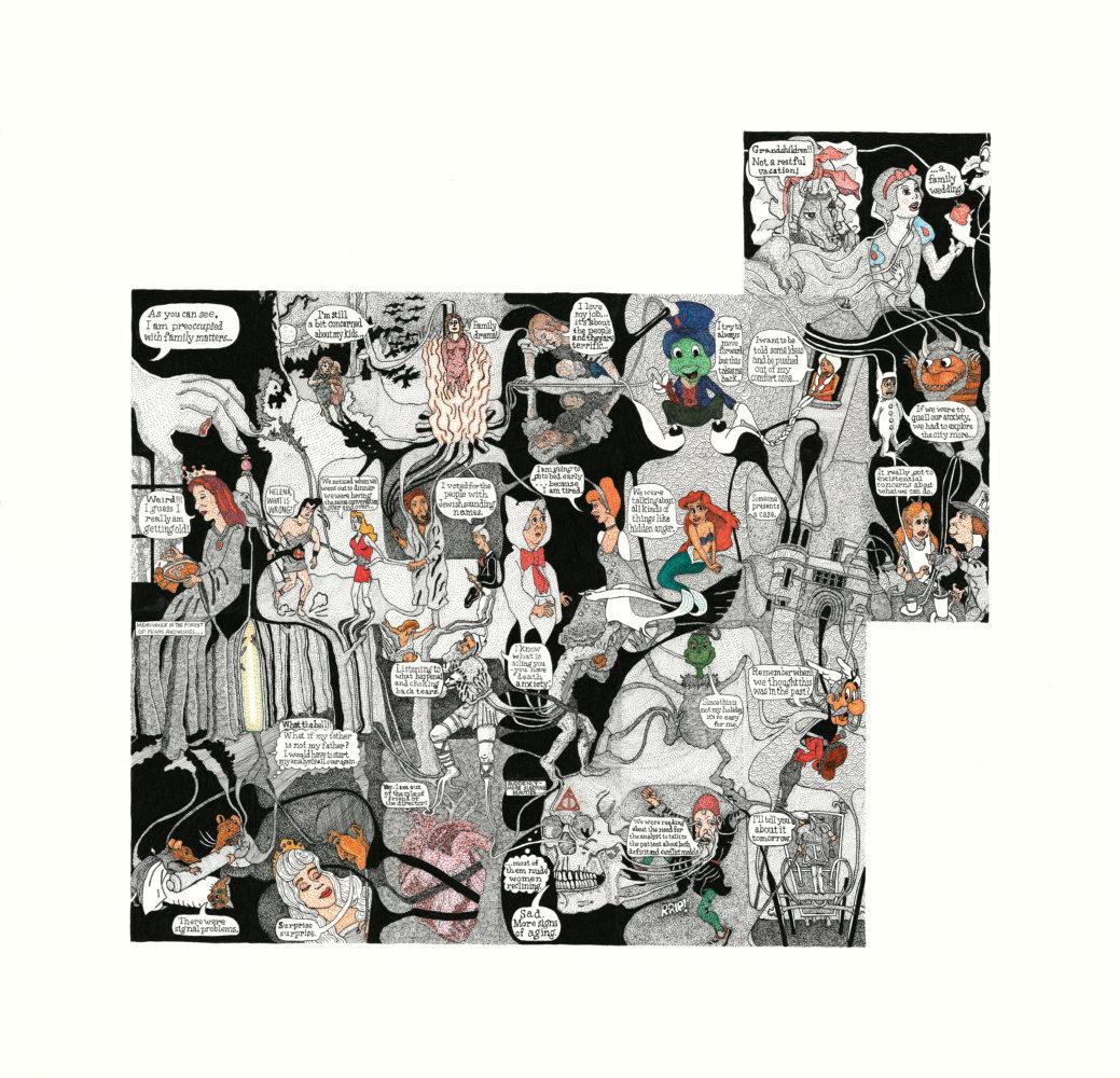 September 2017, Elizabeth Auchincloss M.D. (Making history : The Case Histories), encre sur papier, 41,5 x 43 cm (encadré)
