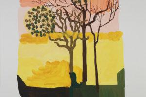 Ciel rougi automne, 2018, gouache sur papier, 120 x 80 cm