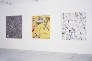 Rémy HYSBERGUE, « Esbrouffes #21 », 2003, acrylique sur Komacel, 135 x 155 cm ; « Esbrouffes #13 », 2003, acrylique sur Komacel, 126 x 145 cm ; « Esbrouffes #19 », 2003, acrylique sur Komacel, 135 x 155 cm