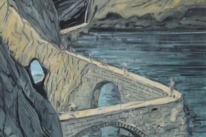 « Quitter le continent », 2010, huile sur toile, 180 x 180 cm