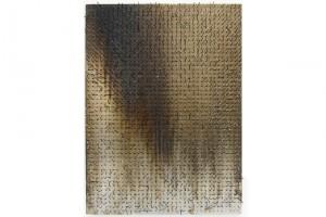 « Tableau-feu », 2009, allumettes calcinées, 76 x 56,5 cm