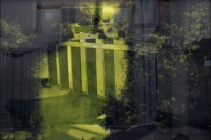 Sans titre #3 – Série « Superpositions », 2009, Jet d'encre sur papier et sur verre, 93 x 134 cm