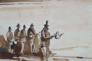 « 5 burgers », 2007, encre sur papier, 56 x 76 cm