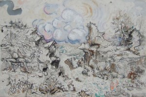 « hand truck », 2007, gouache et encre sur papier, 67 x 101 cm