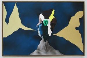 « Janus II », 2010, acrylique, huile, or et cheveux sur dibond, 68 x 104 cm