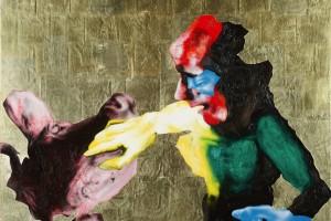 « Toucher la vache », huile, acrylique, feuille d'or et cheveux sur dibond, 59 x 74,5 cm