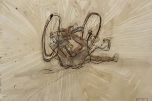 « cycliste endormi », 2011, technique mixte sur papier, 50 x 60 cm