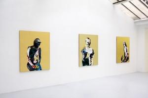 « Chevalier », « Personnage avec tête de vache négatif et heaume milanais», « Nu (Aurélie avec un busard) », 2008, huile, acrylique et feuille d'or sur bois, 155 x 122 cm