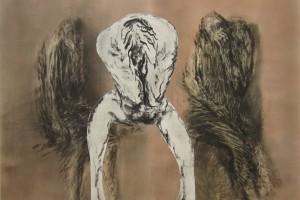 sans titre, 1973-2002, fusain sur papier et collage, 109 x 148 cm