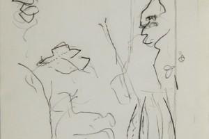 « Ensor (les masques… 1883) », 1998, crayon sur papier, 41 x 32 cm