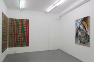 « En regardant le coin simultanément à la main gauche, à la main droite », 1992, acrylique sur toile, diptyque 200 x 135 cm et « Copie d'après Balla », 1983, 138 x 99 cm