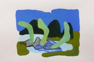 « paysage et formes boomerang », 2008, gouache sur papier, 28 x 38 cm