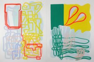 sans titre, 2011, gouache et acrylique sur papier vinci – diptyque, 105 x 75 cm chaque