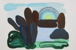 « paysage et soleil vert rayonnant », 2012, gouache sur papier, 56 x 75 cm