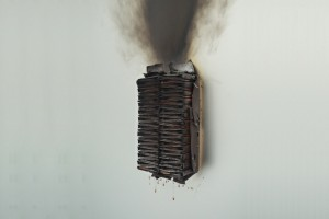 « Tableau-feu aux boîtes d'allumettes (Fleur de savane) », 2009, allumettes calcinées, 80 x 60 cm