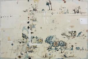 « campagne », 2013, encre et aquarelle sur papier, 38 x 57 cm