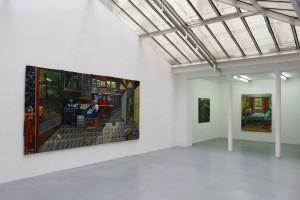 « Big Bang » – « Entre deux », 2013, huile sur toile, 120 x 120 cm et « Flower Power », 2013, huile sur toile, 190 x 154 cm