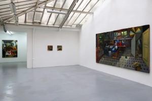 « Cérémonie », 2013, huile sur toile, 190 x 145 cm – « Les choses immobiles », 2013, huile sur toile, 40 x 40 cm – « La descente », 2013, huile sur toile, 40 x 40 cm et « Big Bang »