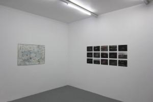« Line 3 », 2014, technique mixte sur papier, 76 x 104,5 cm – sans titre, 2014, technique mixte sur papier, 21 x 29,7 cm chaque
