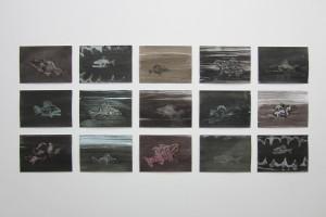 sans titre, 2014, technique mixte sur papier, 21 x 29,7 cm chaque
