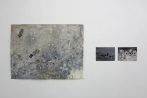 « Lid », 2014, technique mixte sur papier, 83 x 113 cm – sans titre #2 et sans titre #1, 2014, technique mixte sur papier, 21 x 29,7 cm chaque