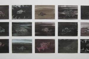 sans titre #15 à #28, 2014, technique mixte sur papier, 21 x 29,7 cm chaque