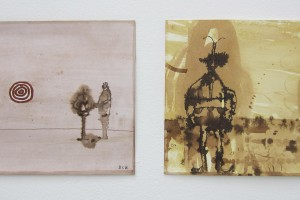 sans titre #4 et sans titre #3, 2014, technique mixte sur papier, 21 x 29,7 cm chaque
