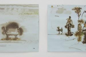 sans titre #8 et sans titre #7, 2014, technique mixte sur papier, 21 x 29,7 cm chaque