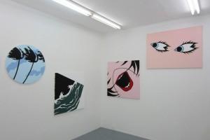 « Palmier », 2014, acrylique sur toile, diam. 80 cm – « Titanic Night », 2010 acrylique sur toile, 100 x 100 cm – « Bouche », 2010, acrylique sur toile, 110 x 110 cm – « Yeux », 2014, acrylique sur toile, 97 x 130 cm
