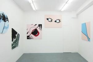 « Palmier », 2014 – « Titanic Night », 2010 – « Bouche », 2010 – « Yeux », 2014 –« Balnéaire », 2010, acrylique sur toile, 100 x 100 cm