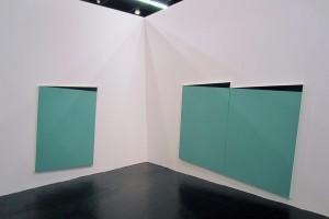 sans titre, 2014, laque sur alumlinium, 162 x 110 cm – sans titre, 2014, dyptique, 162 x 110 cm (Art Cologne, 10-13 avril 2014)