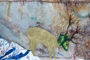 « Descendant la montagne », 2014, huile et feuilles d'or sur marbre, 29 x 48 cm